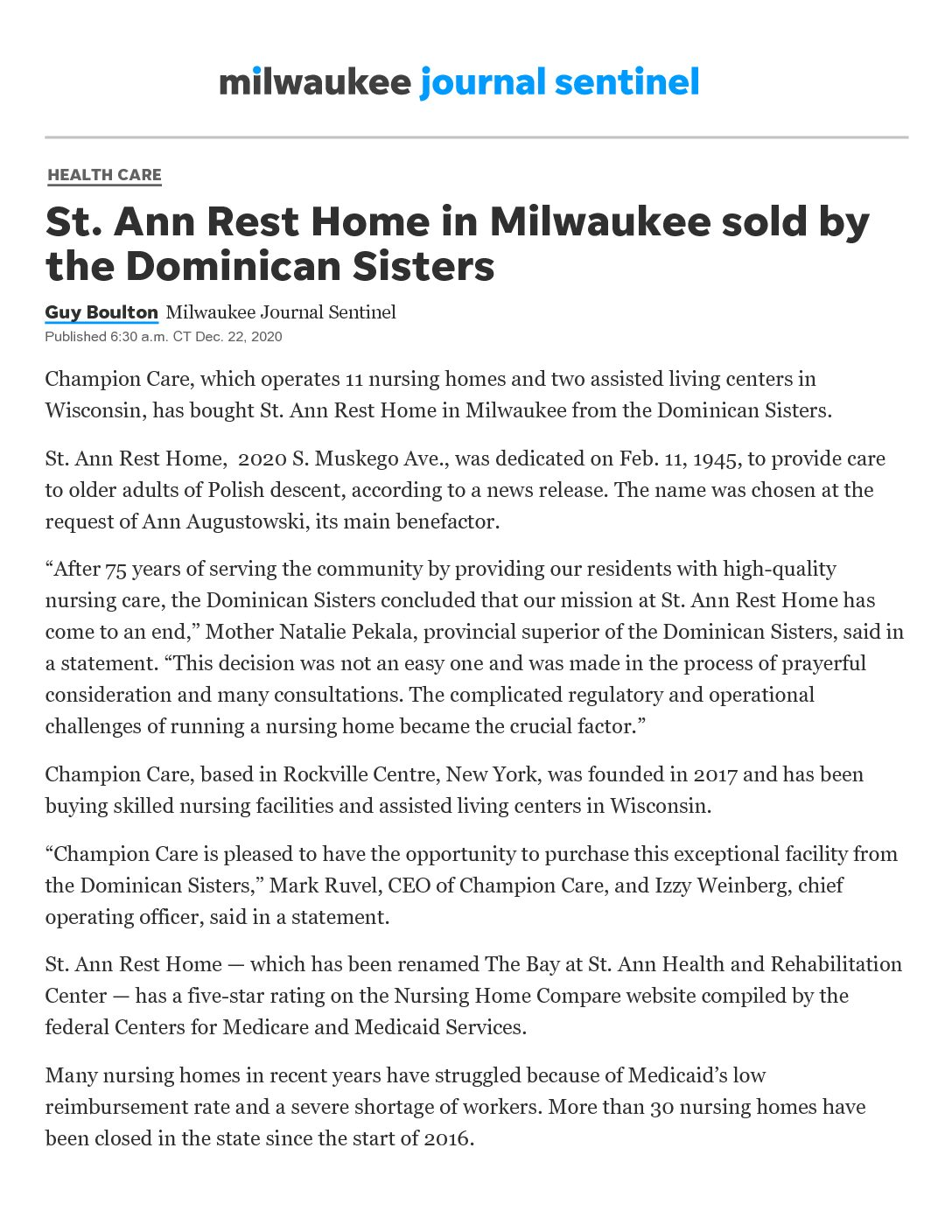 Champion Care buys St. Ann Rest Home in Milwaukee from Dominican Sister
